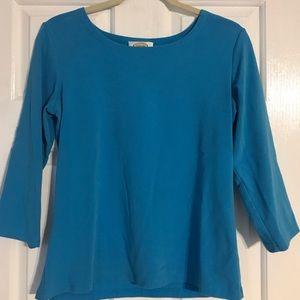 Talbots 3/4 sleeve turquoise shirt.